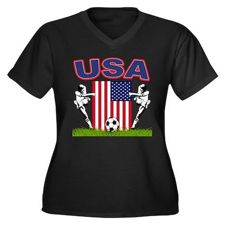 USA Soccer Women's Plus Size V-Neck Dark T-Shirt