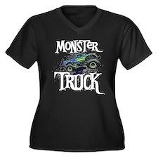 Monster Truck Women's Plus Size V-Neck Dark T-Shir
