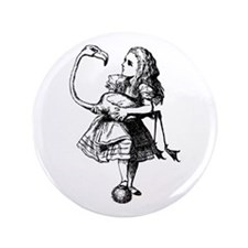 "Alice and Flamingo 3.5"" Button"