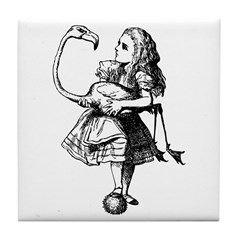 Alice and Flamingo Tile Coaster