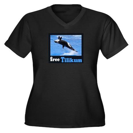 Tilikum the Orca Women's Plus Size V-Neck Dark T-S
