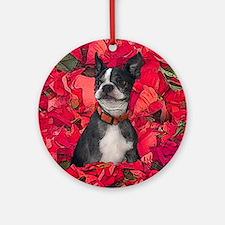 Boston Terrier Christmas Poinsettia Ornament (Roun