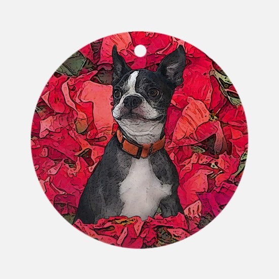Boston Terrier Christmas Poinsettia Ornament (Roun