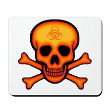 Orange Biohazard Skull Mousepad