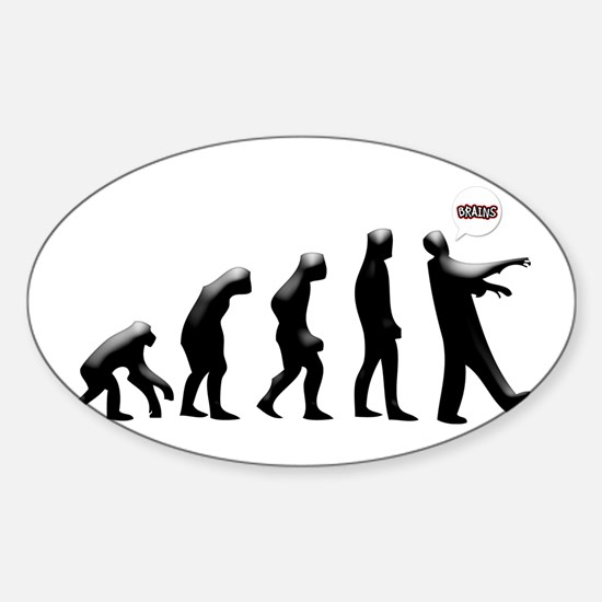 Evolution of The Zombie Sticker (Oval)