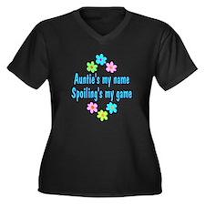 Auntie Women's Plus Size V-Neck Dark T-Shirt