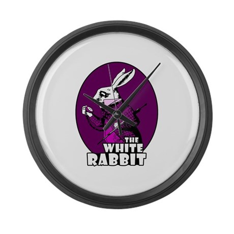 White Rabbit Logo Plum Large Wall Clock