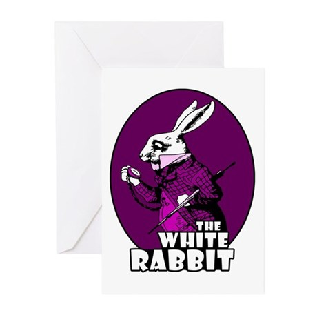 White Rabbit Logo Plum Greeting Cards (Pk of 20)