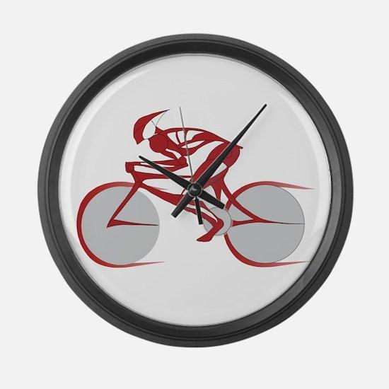 Cute Bike race Large Wall Clock