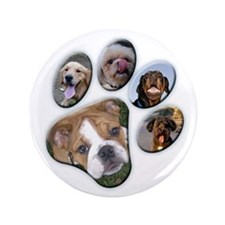 """Dog Paw Photo - 3.5"""" Button (100 pack)"""