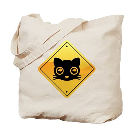Emo Heart Kitty Road Sign Tote Bag