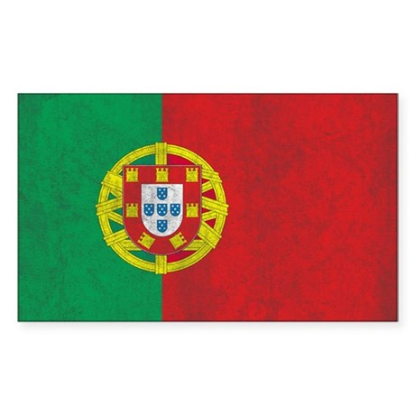 Vintage Portugal Flag Sticker (Rectangle)