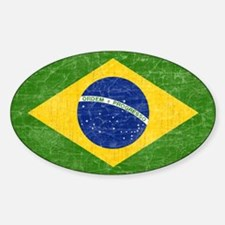 Vintage Brazil Flag Sticker (Oval)