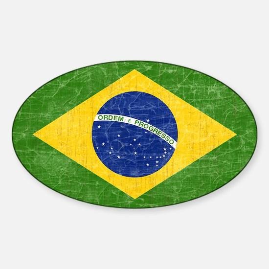 Vintage Brazil Flag Sticker (Oval)