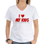 I Love My Kids Women's V-Neck T-Shirt