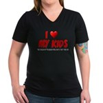 I Love My Kids Women's V-Neck Dark T-Shirt