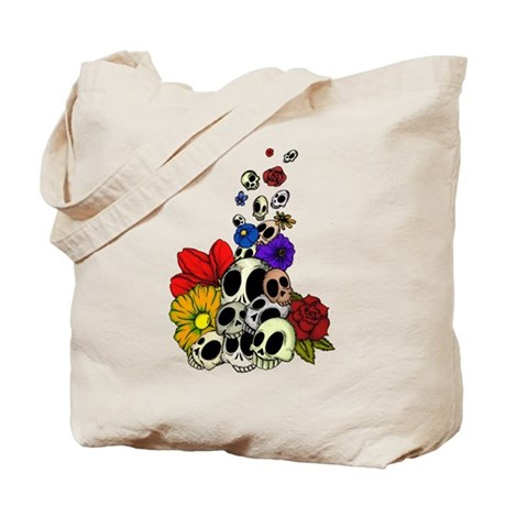 Skulls & Flowers Tote Bag