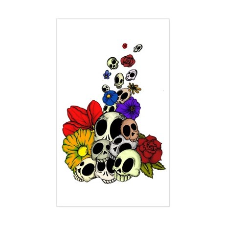 Skulls & Flowers Sticker (Rectangle)