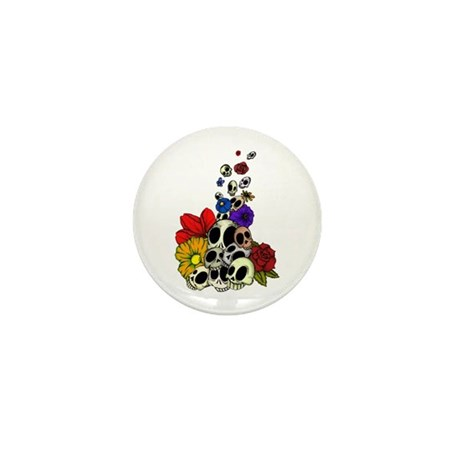Skulls & Flowers Mini Button
