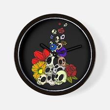 Skulls & Flowers Wall Clock