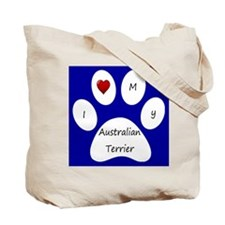Blue I Love My Australian Terrier Tote Bag
