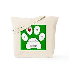 Green I Love My Australian Terrier Tote Bag