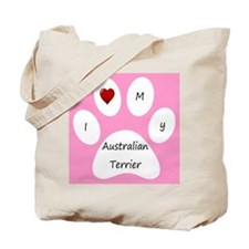 Pink I Love My Australian Terrier Tote Bag