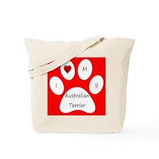 Red I Love My Australian Terrier Tote Bag