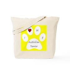 Yellow I Love My Australian Terrier Tote Bag