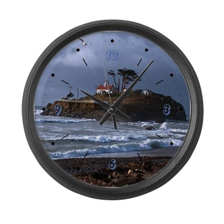 Battery Point Lighthouse & Gull Large Wall Clock