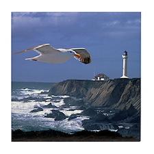 Lighthouse & Seagull Tile Coaster