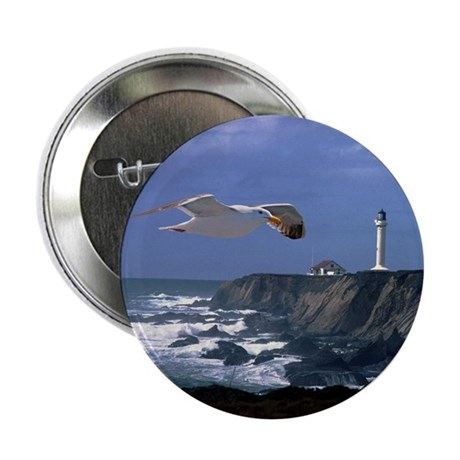 "Lighthouse & Seagull 2.25"" Button (10 pack)"