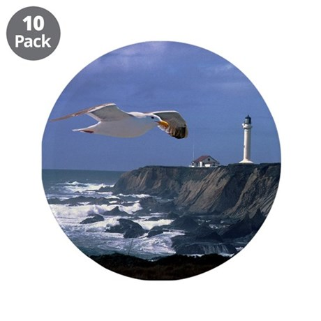 "Lighthouse & Seagull 3.5"" Button (10 pack)"