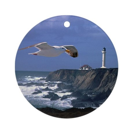 Lighthouse & Seagull Ornament (Round)