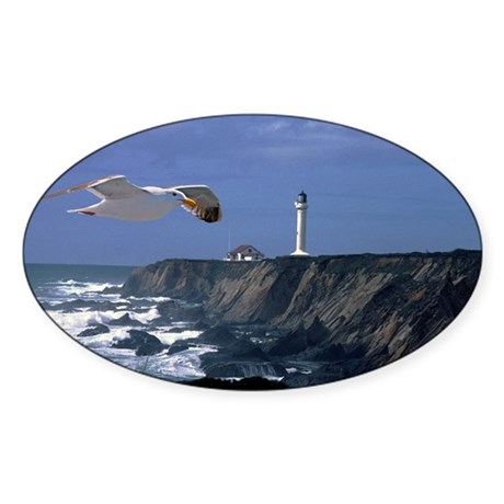 Lighthouse & Seagull Sticker (Oval 10 pk)