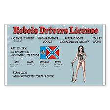 rebel drivers license Decal