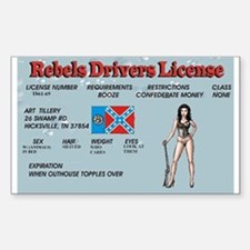 rebel drivers license Decal