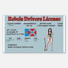 rebel drivers license Sticker (Rectangle)