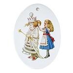 ALICE & THE WHITE QUEEN Ornament (Oval)