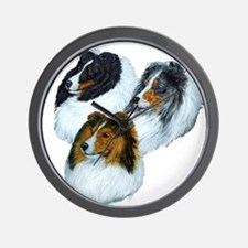 Sheltie Headstudys Wall Clock
