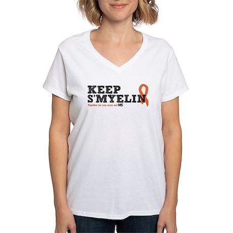 MS/Multiple Sclerosis Women's V-Neck T-Shirt