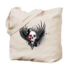 Skull & Wings Abstract Design Tote Bag