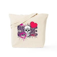 Biker Girl Pink Hearts and Skulls Tote Bag