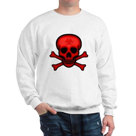 Red Biohazard Skull Sweatshirt