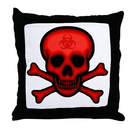 Red Biohazard Skull Throw Pillow