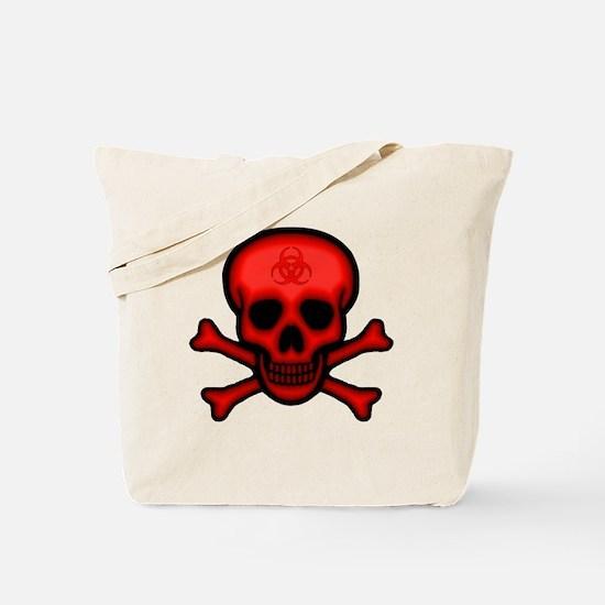 Red Biohazard Skull Tote Bag
