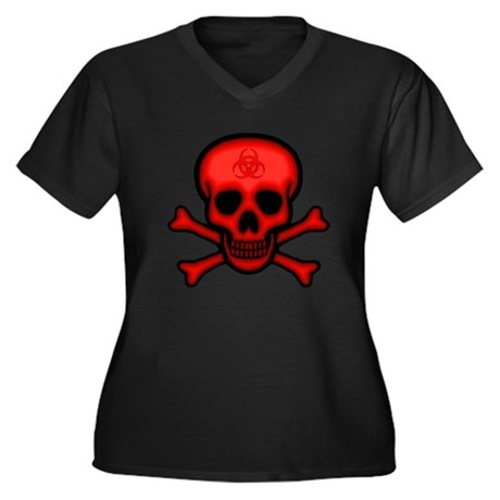 Red Biohazard Skull Women's Plus Size V-Neck Dark