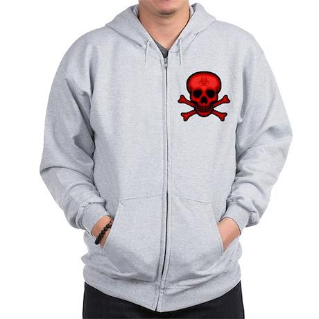 Red Biohazard Skull Zip Hoodie