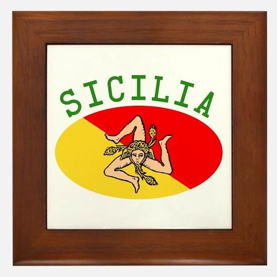 Sicilian Flag Framed Tile