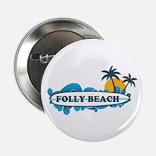 """Folly Beach SC - Surf Design 2.25"""" Button"""